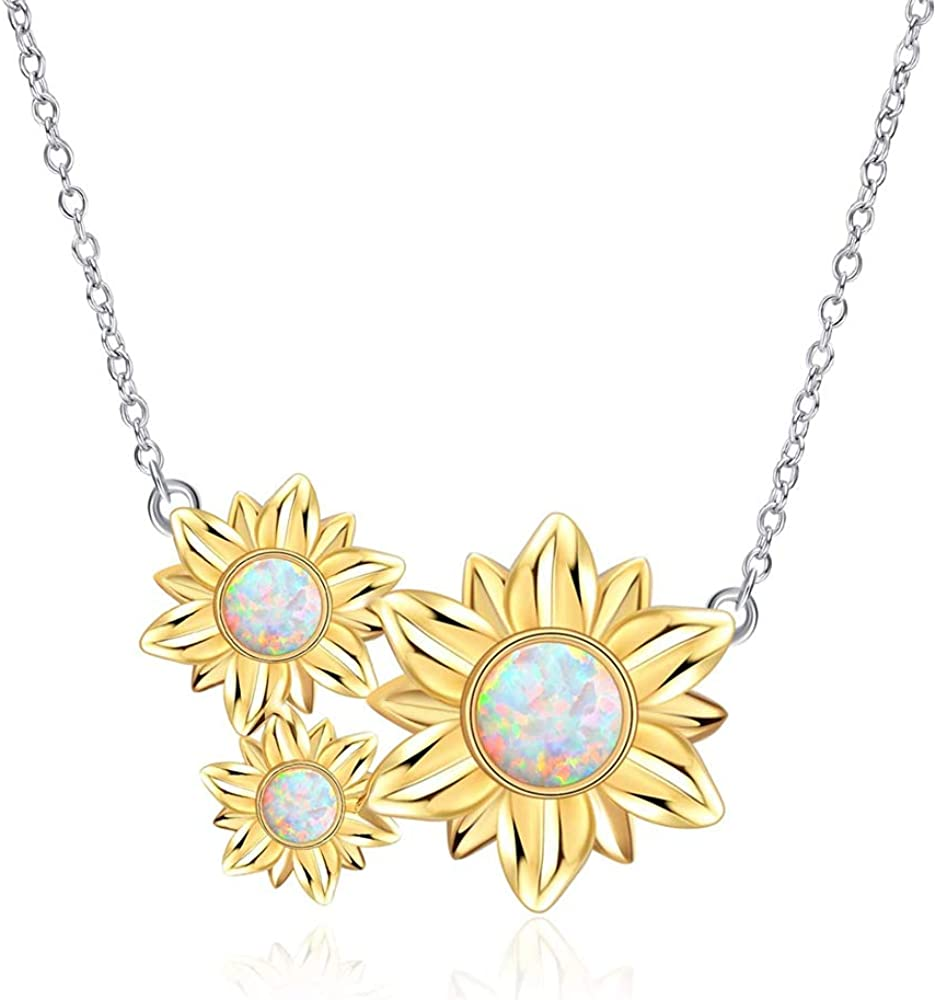 CiNily Opal Necklace for Women Girls,14K White Gold Plated Sunflower/Round Shape Gemstone Pendant Necklace