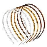 JeoPoom Liso Diademas de Plástico[6 Piezas], Bandas de Cabello de Peine de Dientes, Unisexo Fina Diadema Plano con Dientes, Banda de Pelo Bucle de Pelo(8mm)