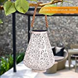 YUNLIGHTS Solar Lantern Hanging Solar Lights Outdoor Solar Powered Lanterns LED Lanterns 2PCS Decorative lamp for Garden/Patio/Hallway, Waterproof, 8-10h Working Time, Warm White, Pear Shape