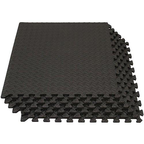 [リーディングエッジ] EVA ジョイントマット 大判 60cm 厚み1.2cm 6枚セット 約1.8×1.2m 床保護 ジョイント マット ブラック LE-GMT06