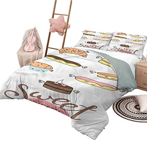 Juego de sábanas de tamaño Completo Sweet Dreams, Colcha de Dormitorio Liviana para Todas Las Estaciones, Eacuteclair y Cake