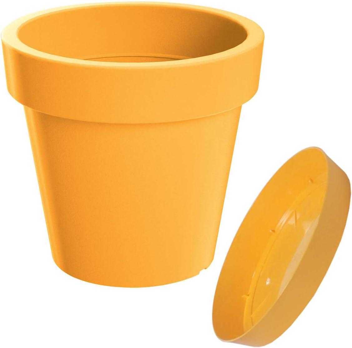 Erhard-Trading Valencia Pot de fleurs en plastique rond avec soucoupe Multicolore 13 cm terracotta