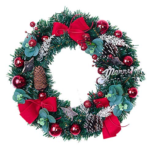 Weihnachtsgirlande, Künstlicher Kranz Türkranz Girlande Dekokranz Wandkranz Kränze Weihnachtskranz Hängend Weihnachtsdekoration für Deko, Weihnachten, Advent, als Stimmungslicht, Türkranz (A)