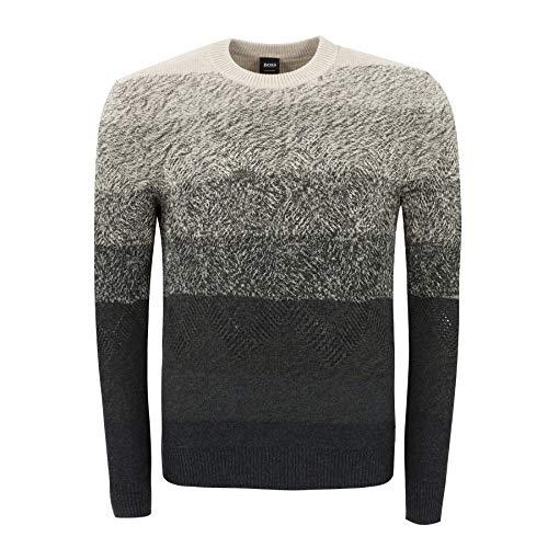 Boss Kardumage - Jersey de mezcla de algodón con estampado de arán, color gris 022