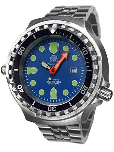 Tauchmeister T0315M XXL - Reloj de Buceo automático (100 ATM, Correa de Acero Inoxidable de 52 mm)