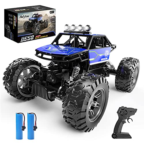 Holyton RC Cars, 4WD Remote Control Car, 1:16 Scale Off Road Monster Trucks High Speed 2.4GHz All Terrain, 2 Rechargeable Batteries Toy Crawlers Vehicles for Boys and Adults, 90+ Min Play, Blue