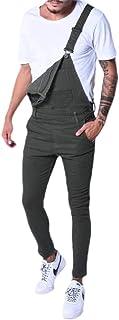 qianqianq Mens Overall-Bib Streetwear Pockets Denim Pants Slim Fit Jumpsuits Rompers