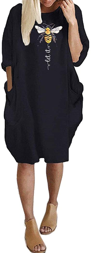 JiaMa Super-cheap Let it be Long Sleeve wi Loose Directly managed store Oversize Tunic Dress Pocket