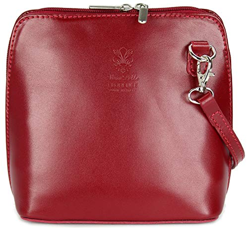 Belli ital. Ledertasche Damen Umhängetasche Handtasche Schultertasche - 17x16,5x8,5 cm (B x H x T) (Bordeaux 2)