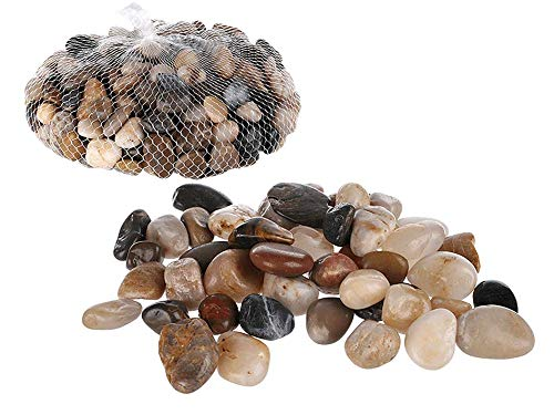 Invero Mixed Natural Coloured Small Decoration Stones Pebbles Ideal for Table Décor, Pots, Vases, Gardens, Weddings, Aquariums and more - 1kg Bag