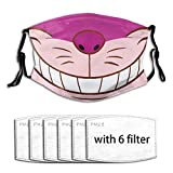 Cheshire Cat Cartoon Fashion Pattern Face Mask,Reusable Washable Comfy Warm Face Mouth Cover Unisex Adult