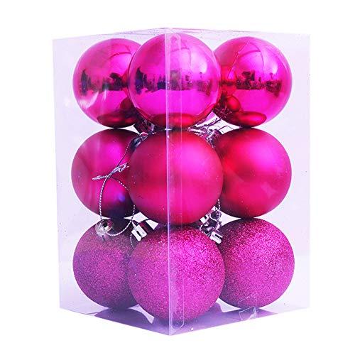 N/W Bolas de Navidad, Hawkoch 12 Piezas Juego de Bolas de Navidad Adornos para árboles Decoraciones para Festivales Bola Colgante para decoración de árboles de Navidad (Rosa)