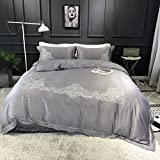 Teinopalpus Duvet Cover Set Gray 100% Lyocell Sateen Silver Embroidery Luxury Satin Bedding — Full Queen Size,3 Piece Comforter Cover and 2 Pillowcases,NO Comforter