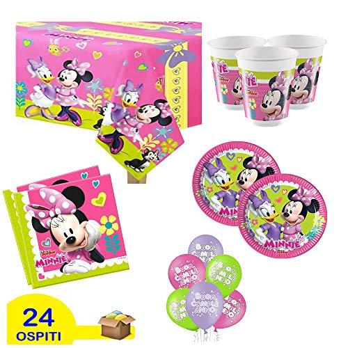 Juego de decoración para fiestas de cumpleaños con diseño de Minnie Mouse, color rosa, para 24 personas (24 platos, 24 vasos, 40 servilletas, 1 mantel y 20 globos de regalo).