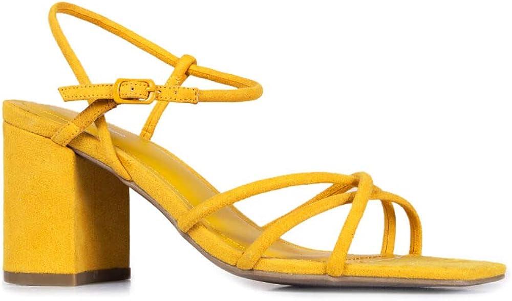 J. Adams Camila Sandals for Women - Square Open Toe Strappy Mid Block Heels