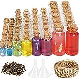 CUCUMI 106pcs Mini Glass Jars Bottles with Cork Stoppers Wish Bottles (50pcs 0.5ml and 24pcs 2ml and 20pcs 5ml and 12pcs 10ml), 110pcs Eye Screws,30 Meters Twine and 2pcs Funnel
