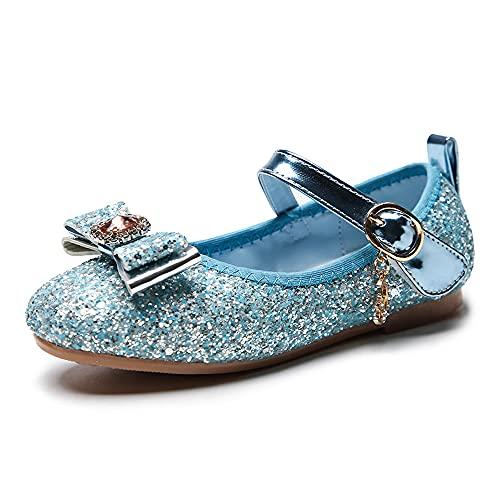 Eleasica Zapatos Planos con Adorno de Punta de Lazo de Piedra Brillante para Vestido de Princesa Zapatillas Colores Azul, Rosa, Plata Calzado para niña Infantil de 3 a 12 años, tamaño 24-34