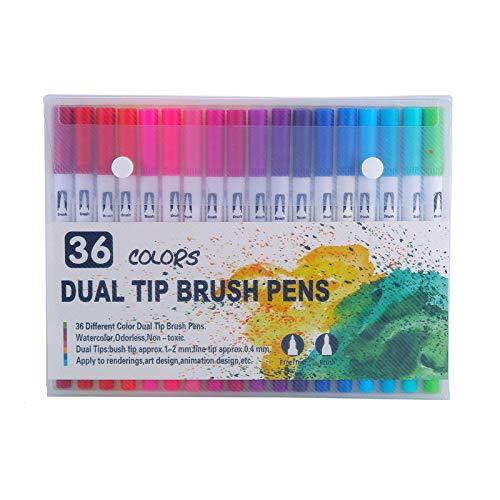 Iycorish 36 Colores Marker Liner Drawing Acuarela Rotuladores Twin Head Brush Pen Painting Art Supplies