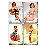 MULINSEN 4 PCS Vintage Tin Sign Painting Pinup Wall Art Decor Sexy Poster for Bathroom Bar Club Cafe, Restaurants Home Decoration Retro Tin Painting (12 X 8 Inches)