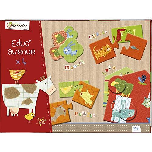 Avenue Mandarine 42811O - Une boite Educ'Avenue Ferme comprenant un Mémo 28 pièces, 20 puzzles 2 pièces et un Loto 4 planches et 20 jetons