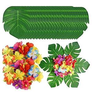 Jaimenalin 90Pcs Tropical Leaves and Hibiscus Flowers, Artificial Leaves Plants Hibiscus Flowers Fete Deco, Hawaiian Party Jungle Beach