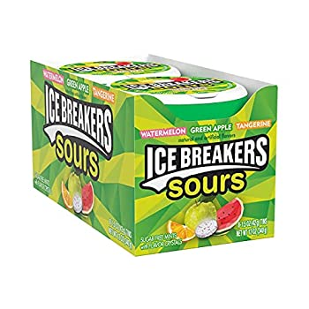 ICE BREAKERS Sours Green Apple Tangerine and Watermelon Flavored Sugar Free Breath Mints Halloween Candy 1.5 oz Tins  8 Count