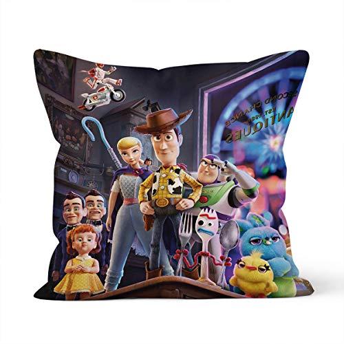Funda de almohada cómoda y agradable al tacto con diseño de Toy Story, apta para la almohada del coche del dormitorio de la casa, tamaño 40 x 40 cm.