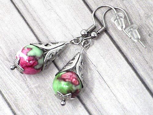 Pendientes de acero inoxidable para mujer con cono de filigrana de acero y perlas de jade tintadas en rojo y verde