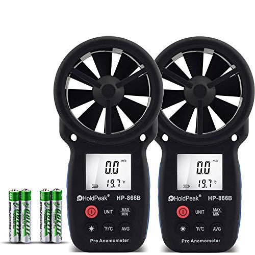 HoldPeak 866B-2Pcs Anemómetro Digital de Mano para Medir la Velocidad del Viento,Medición de la Velocidad del Viento, Temperatura y Viento Frío,con LCD Retroiluminación y Retención de Datos