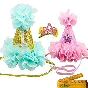 Wiz BBQT 2 Pcs Adorable Cute Cat Dog Pet Birthday Hair Head Bands Accessories and a Crown Shaped Hair Clip for Kitten Puppy Small Dogs Cats Pets