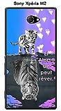 Onozo Coque Sony Xpéria M2 Design Chat Tigre Blanc Fond Bleu Rose Et Alors !