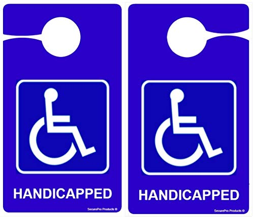 Handicapped/Disabled Door or Rear View Mirror) Hang Tag for Rear View Mirror, Car Dashboard and Doors; ADA Compliant; Made in The USA (3)