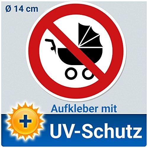 Aufkleber Schild Kinderwagen verboten, 14cm Durchmesser Folie für Rolltreppe, Treppenhaus, Hausflur, Fluchtwege