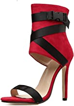 Women Red Lycra Buckle Stiletto Heels Splicing Bandage Peep-Toe High Heeled Sandals for Evening and Wedding