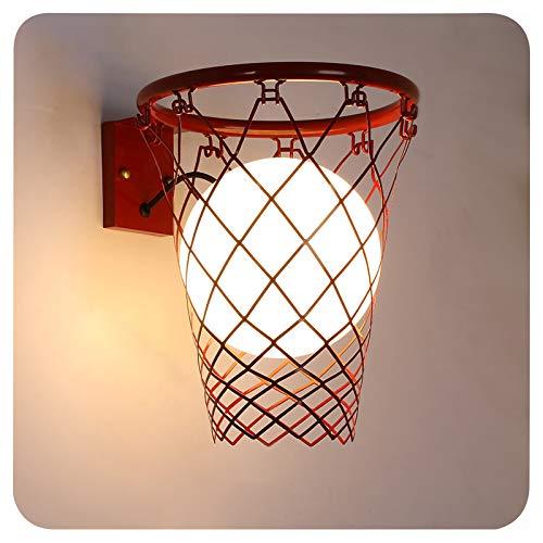 XIAOKUKU Aplique lámpara Pared, Creatividad Baloncesto Lámpara Pared LED Moderno Tipo de cableado Simple Lámpara Pared Hierro Forjado Vidrio E27 Dormitorio, Iluminación de Sala Estar Decoración,Rojo