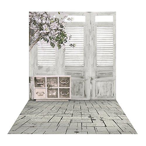 Muzi 150x250cm blanco caja de madera puerta Vintage y flores fondo para estudio de fotografía para recién nacido niños Photo Studio Prop d-9803