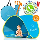 Tamar Baby Beach Tent: Toddlers and Tots Blue Pop-Up Sun Shelter with mini Pool and Detachable Shade, Lightweight, 50 SPF UV Protection with Carry Bag and A Bonus Baby Swimming Ring