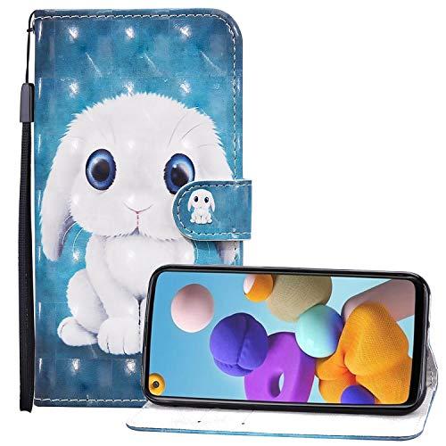 Nadoli 3D Effekt Brieftasche für Samsung Galaxy A01,Niedlich Weiß Hase Muster Pu Leder Magnetverschluss Kartenfächer Flip Tasche Schutzhülle mit Standfunktion