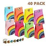 Funny House 40 Pezzi Sacchetti Regalo di Carta Regalo Confetti Borse Arcobaleno Festa con Un Rotolo di 100 Adesivi per Bambini Feste di Compleanno