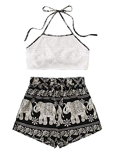 SheIn Women's Floral Twopiece Sleeveless Halter Lace Cami Crop Top and Short Set Black Elephant X-Small