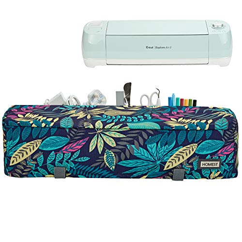 HOMEST Floral Dust Cover with Back Pockets Compatible with Cricut Explore Air 2 and Cricut Explore Air (Patent Design)