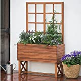 Outdoor Brighton Planter Trellis Made with Acacia Wood in Oil-finished acacia wood 36W x 14D x 58H in.