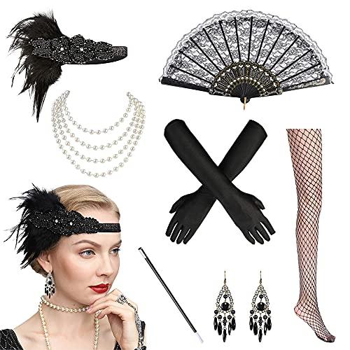 BIRLON 1920s Set de Accesorios Disfraz, Años 20 Flapper Disfraces Accesorios de Charlestón Diadema Pendientes Collar de Perlas Guantes para Mujer Disfraz