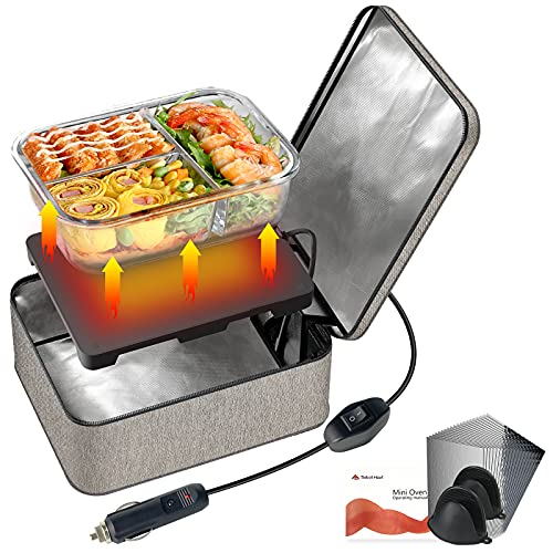 SabotHeat Portable Car Microwave - 12V 90W Mini Personal Car Oven with On/Off Switch for Reheating & Raw Food Cooking, Fast Heating Food Warmer for Trip, Outdoor Work, Camping (Grey)