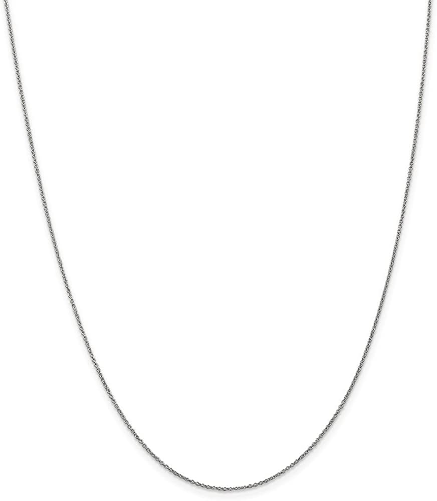 14k White Gold .9mm Link Cable Lobster Clasp Chain Necklace 24 Inch Pendant Charm Fine Jewelry For Women Gifts For Her