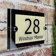 TRJGDCP Aanpassen 200x140mm MODERN HUISSIGN PLAQUE DEURNUMMER STREET GLAS EFFECT ACRYLISCHE NAAM Huisnummers (Kleur: Beig...