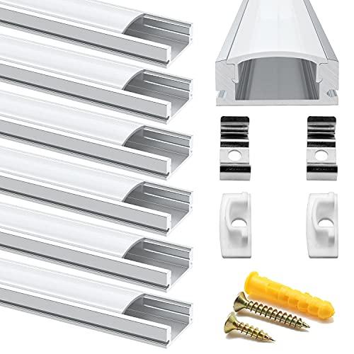 Chesbung Profilé Aluminium LED - 6x1mètre Aluminium Profilé U-forme pour Bandes à LED, Compact Finition Professionnelle avec Blanc Laiteux Couvercle,Embouts,Clips de Montage en Métal,Embouts Jaunes