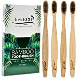 4 Count I Bamboo Toothbrush I Soft Bristles Best for Sensitive Gums I Charcoal I Vegan I Natural Wood I BPA Fee I Recyclable I Compostable I Biodegradable   Environmentally Friendly   by EveEco