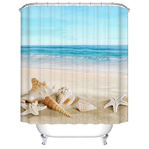 Meer und Sandstrand und Tritonshorn Duschvorhang, Qile Top Qualität Anti-Schimmel und Anti-Bakteriell 3D Duschvorhänge für Bad Badezimmer 180 x 180 cm + 12 Haken