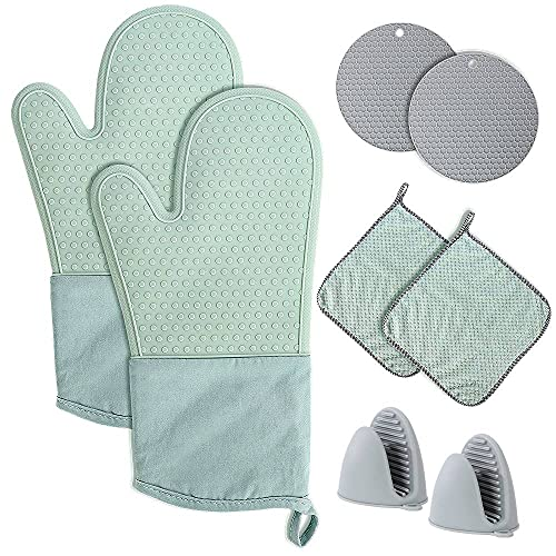 Oven Mitts and Pot Holders Set 8 Pcs, Extra Long Silicone Gloves Kitchen Accessories High Heat...